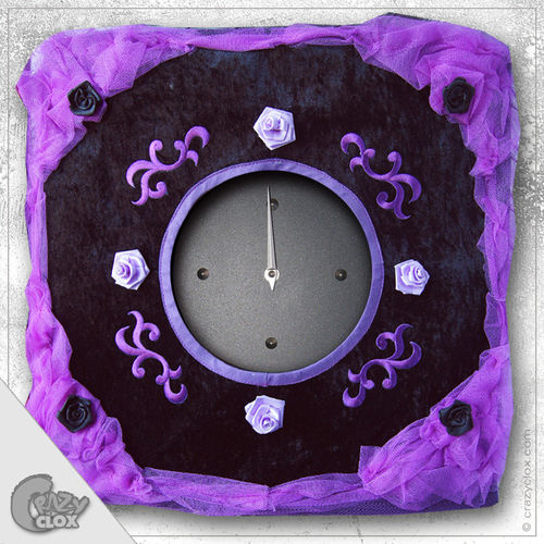 "Wanduhr ""Crazy Clock-Dark Roses 2"""