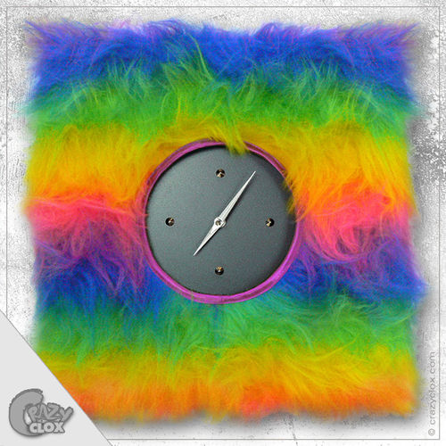 "Wanduhr ""Crazy Clock-Fluffy Rainbow"""